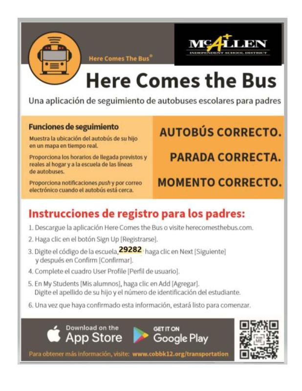 Here comes the bus app Spanish