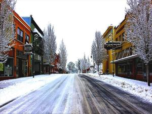 A snowy look at Main Street in downtown Forest Grove