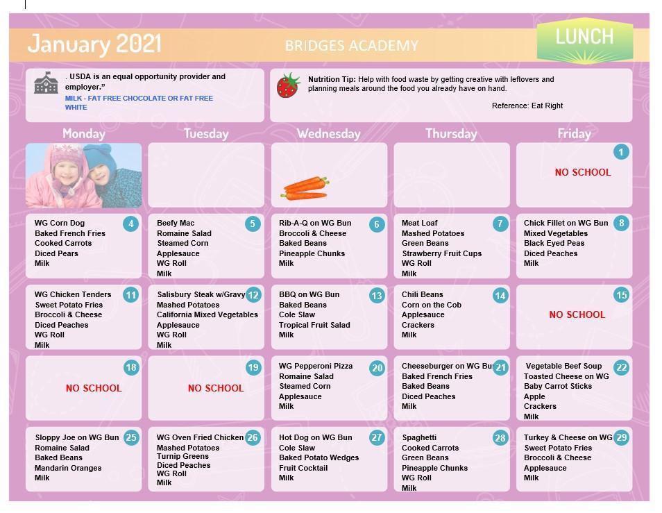 Lunch menu January 2021