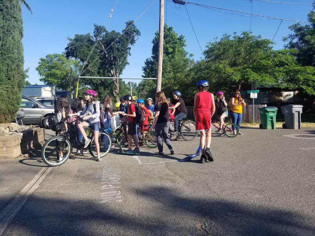 Students riding their bikes