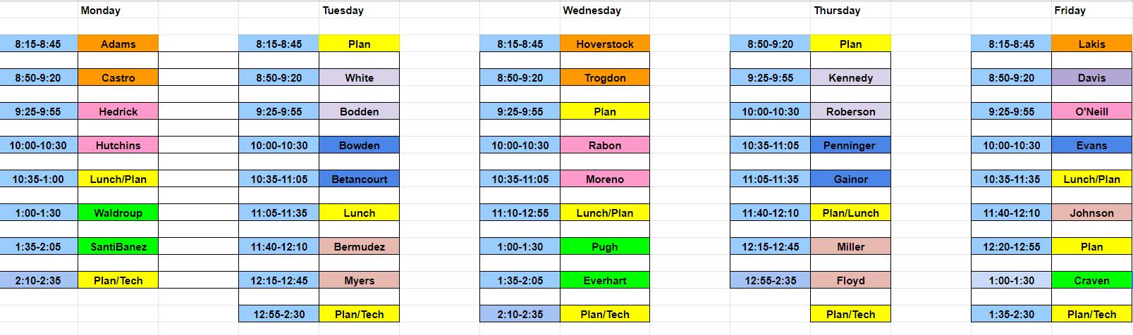 Media Schedule 21-22