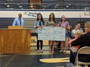 Skyview recipients with their award check