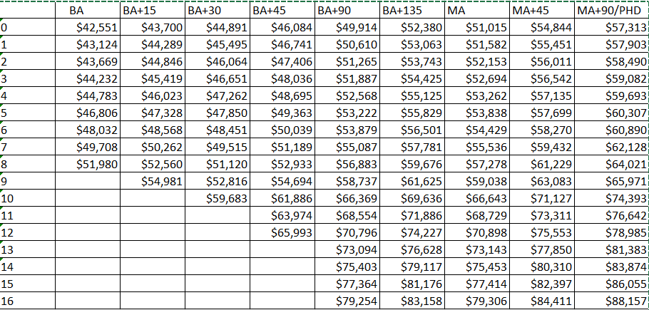 WSD proposed salary schedule
