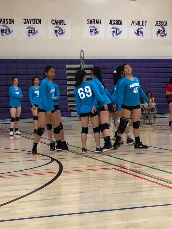 students on a volleyball court dressed in their uniforms