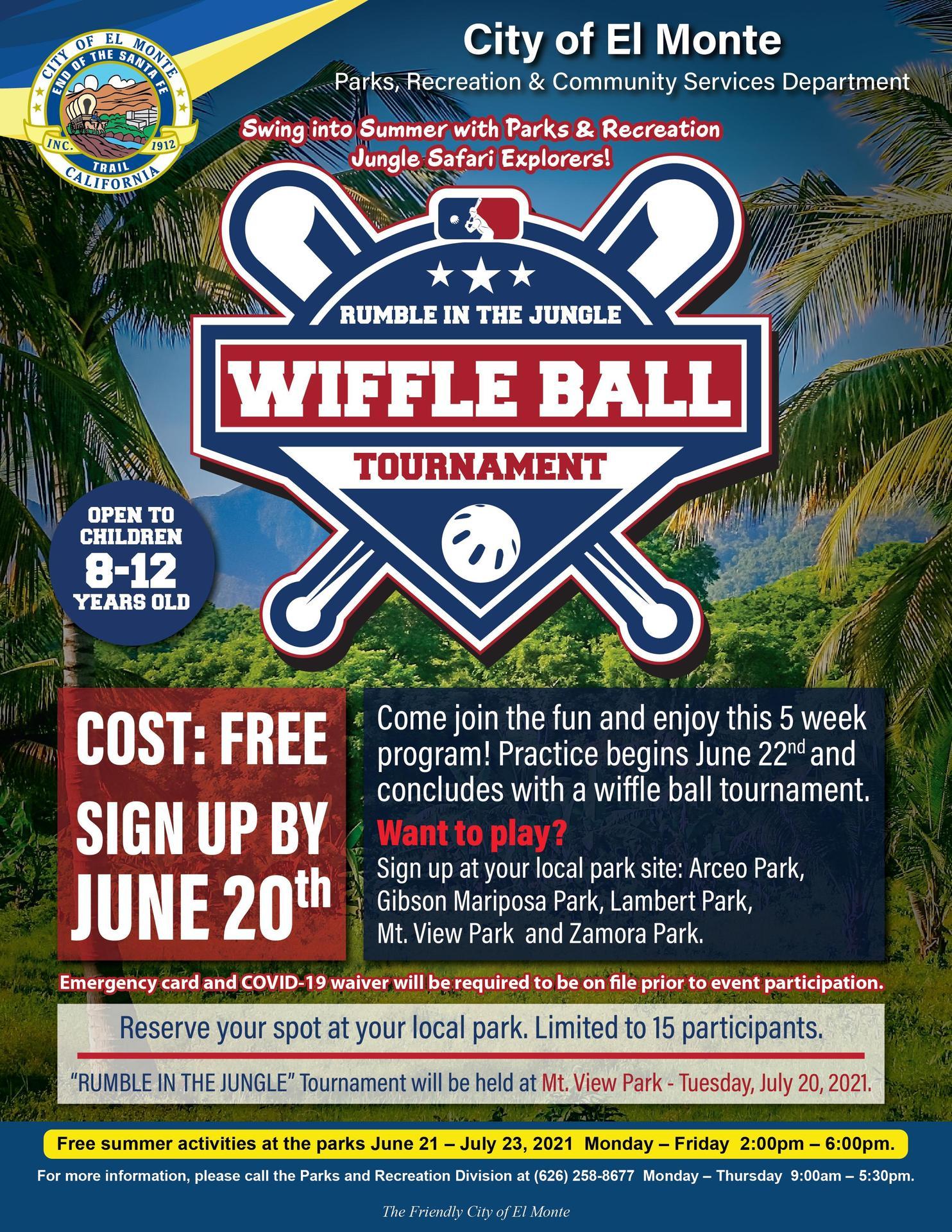 El Monte Wiffle Ball tournament flyer courtesy of city of El Monte