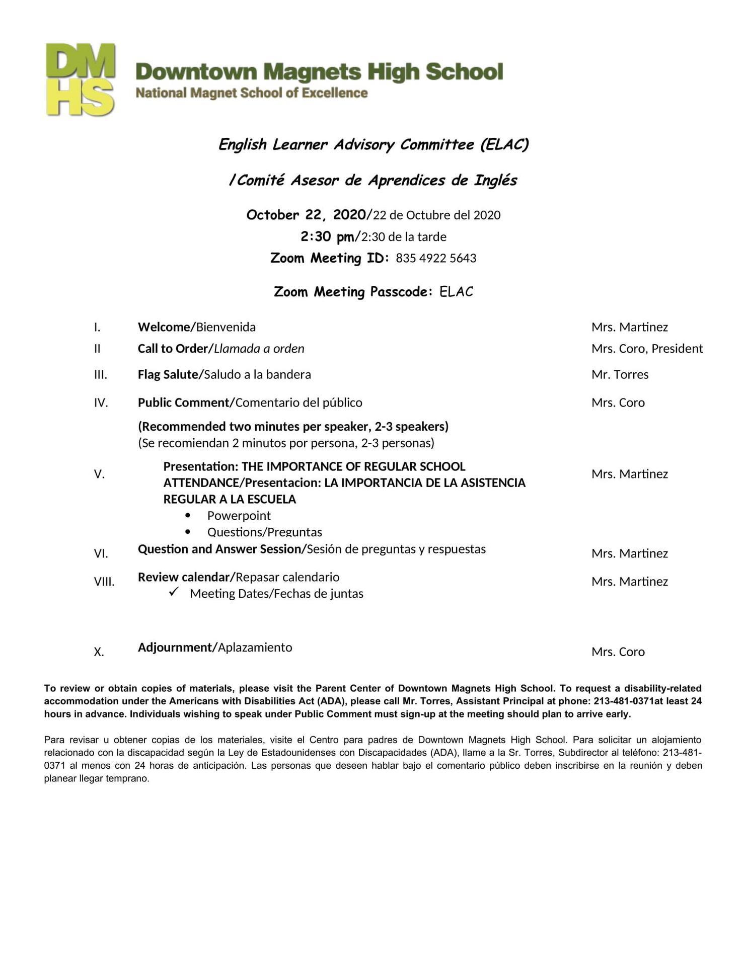 ELAC Agenda October 21, 2020