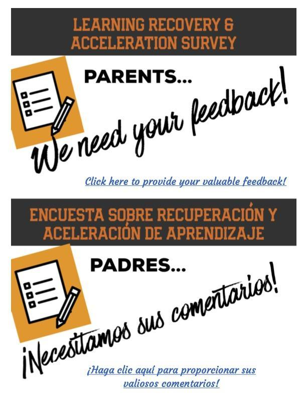 Learning Recovery & Acceleration Survey for Parents Featured Photo