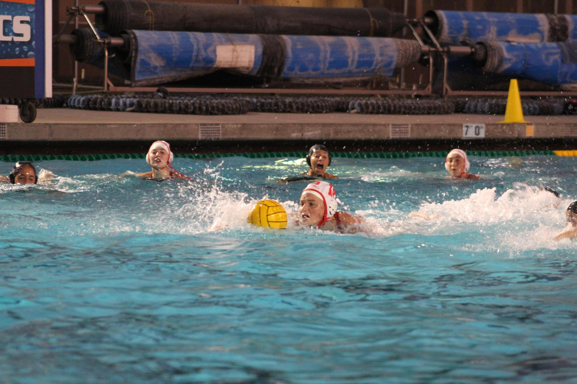 girls playing water polo at central
