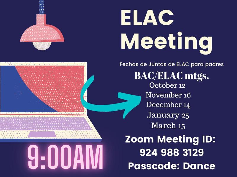 Lincoln Elementary ELAC Meeting Dates