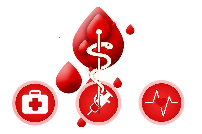 A cartoon blood drop and icons for what it can be used for.