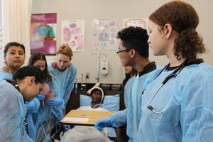 Students working in the Medical Lab