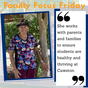 Danette Watland standing next to a tree with the Faculty Focus boarder around her picture.