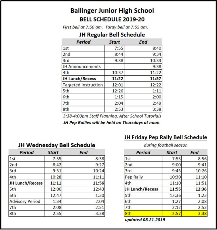 Updated Jr. High Bell Schedule