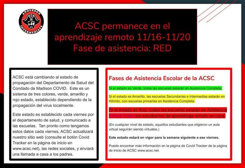 ACSC permanece en el aprendizaje remoto 11/16-11/20  Fase de asistencia: RED