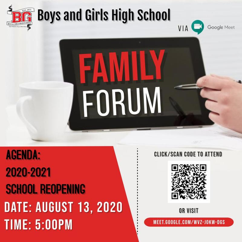 BGHS Family Forum August 13 2020