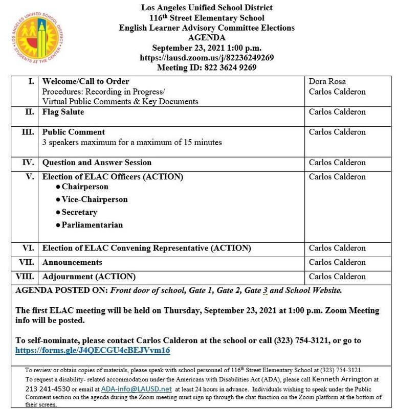 ELAC Meeting/Junta de ELAC 9-23-2021 Thumbnail Image