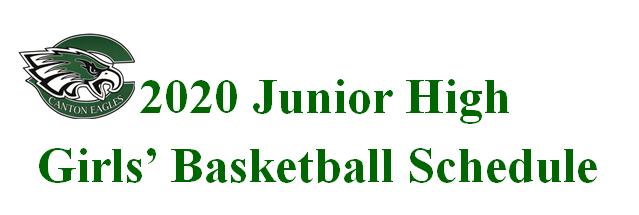 2020-21 Junior High Girls' Basketball Schedule