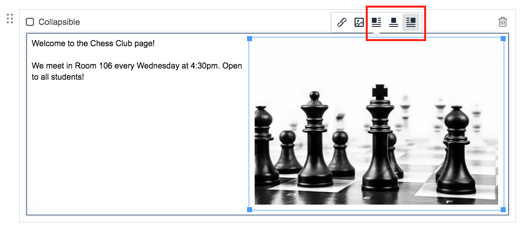 screenshot of positioning an inline image