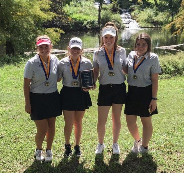 The Brewer High School girls' golf team won the Boswell Golf Tournament. Team members are Amy McCarley, Emily Adkins, Aidan McCord and Katelyn Smith.