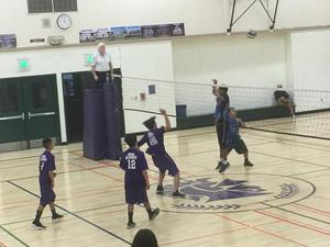 volleyball players near the net playing volleyball