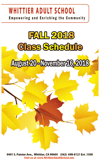 Fall Term 2018 Schedule Featured Photo