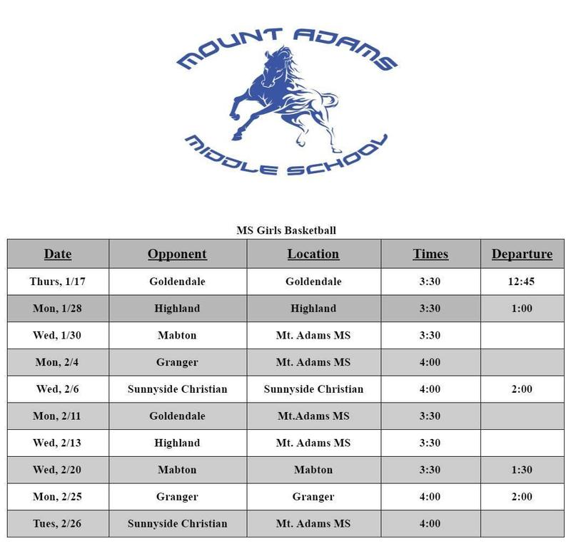 MS Girls Basketball Schedule