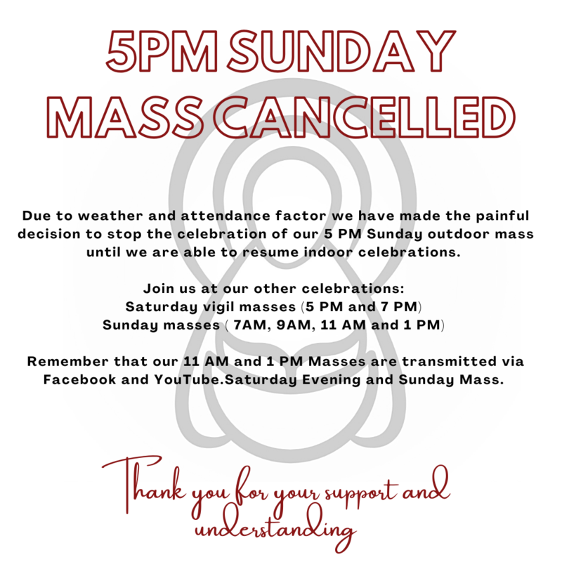 5 PM Mass Cancelled Featured Photo