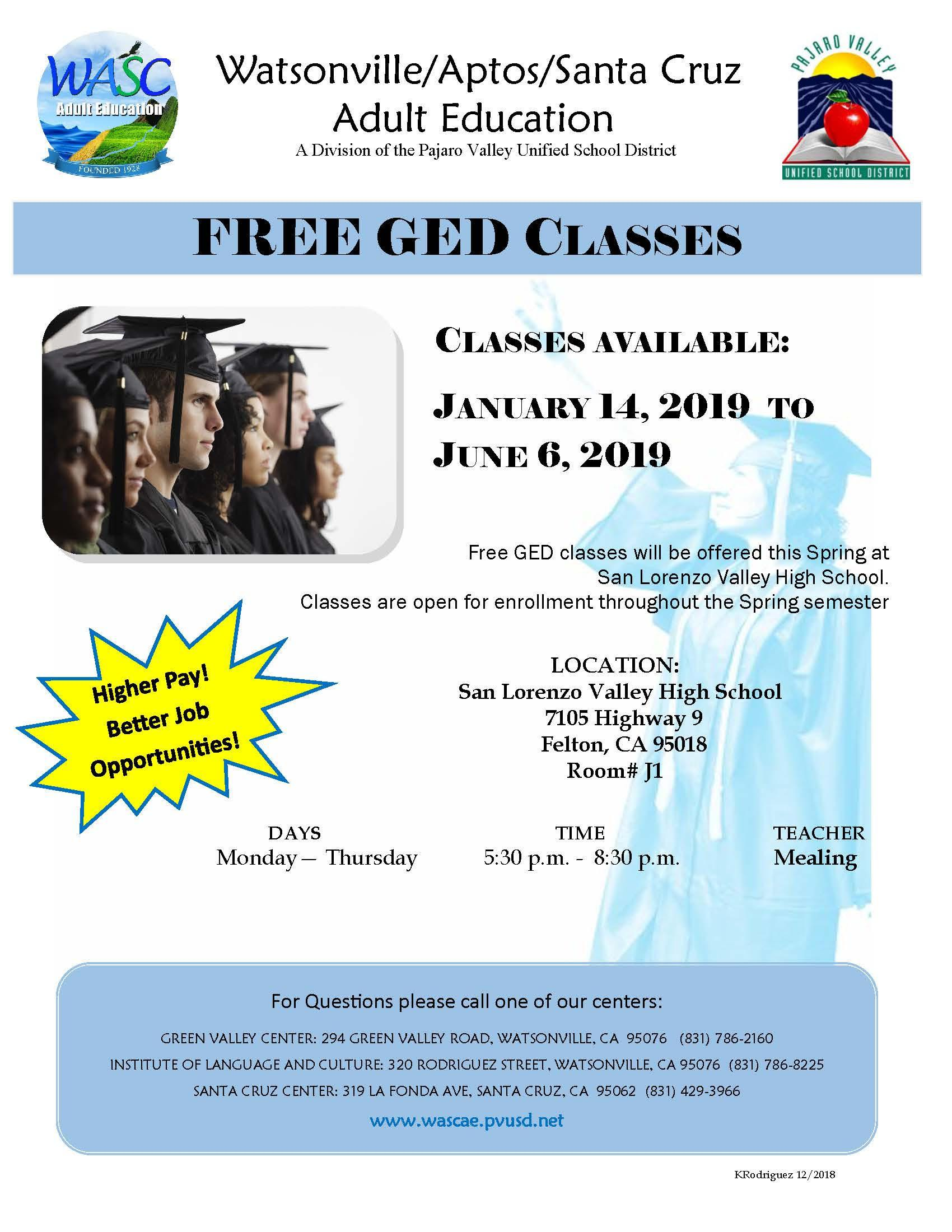 Free GED Classes at SLVHS call429-3966