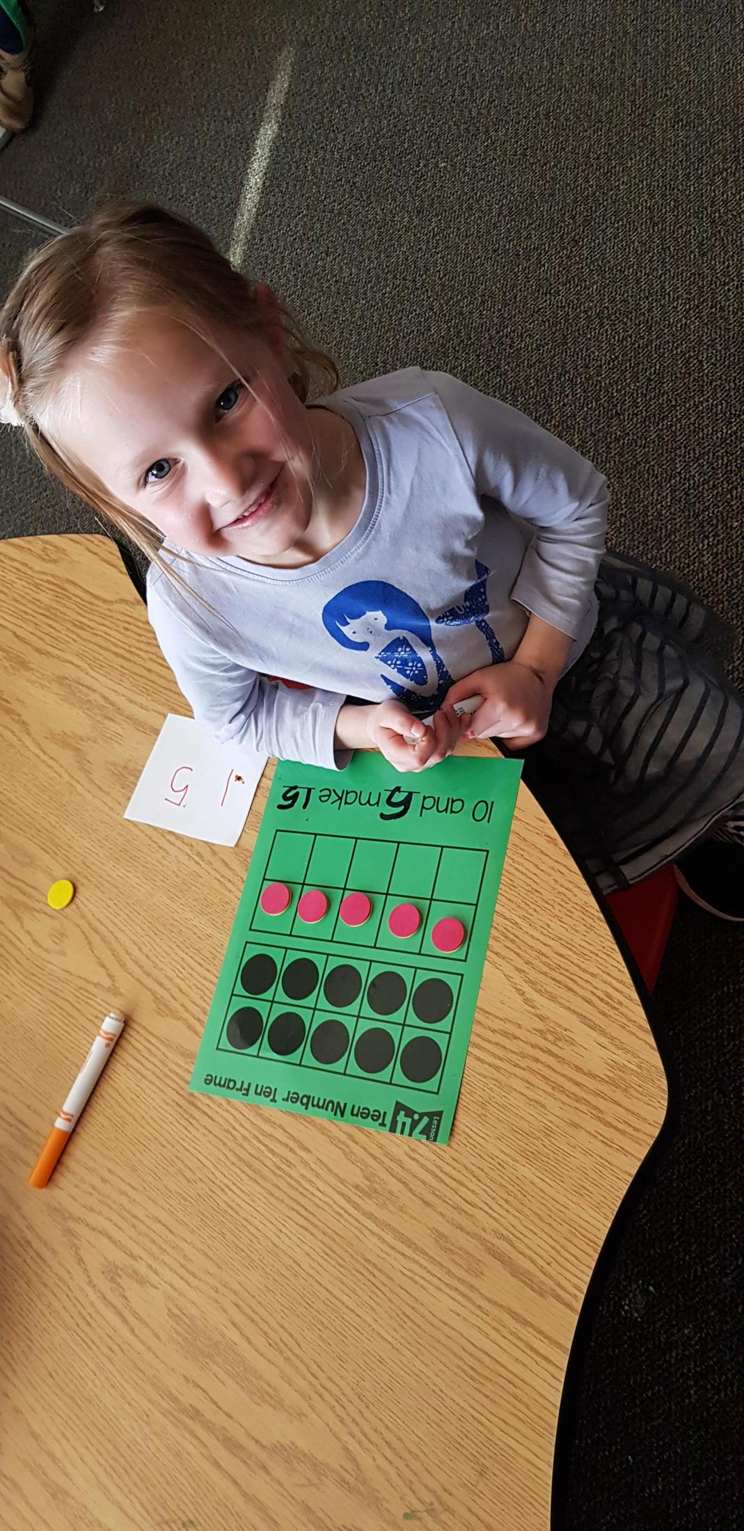 Math work with the teen numbers!