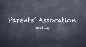 Parents Association Meeting on chalkboard