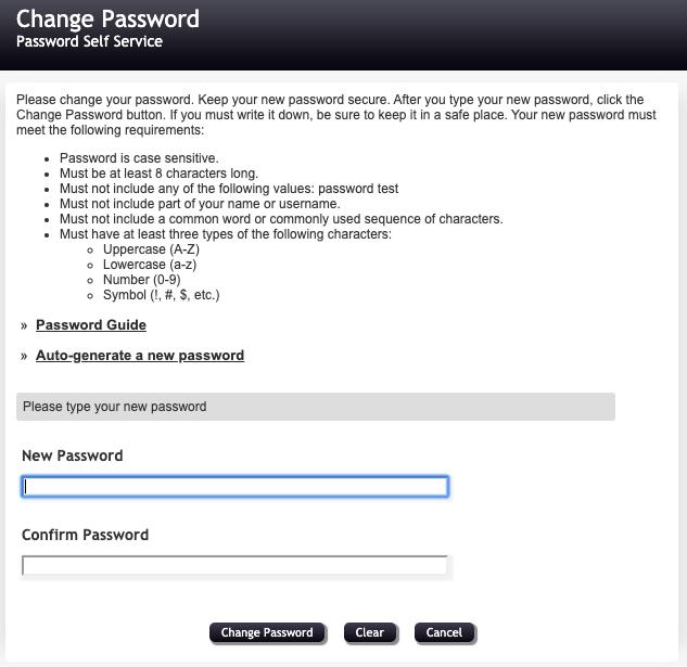 Change password screen screenshot