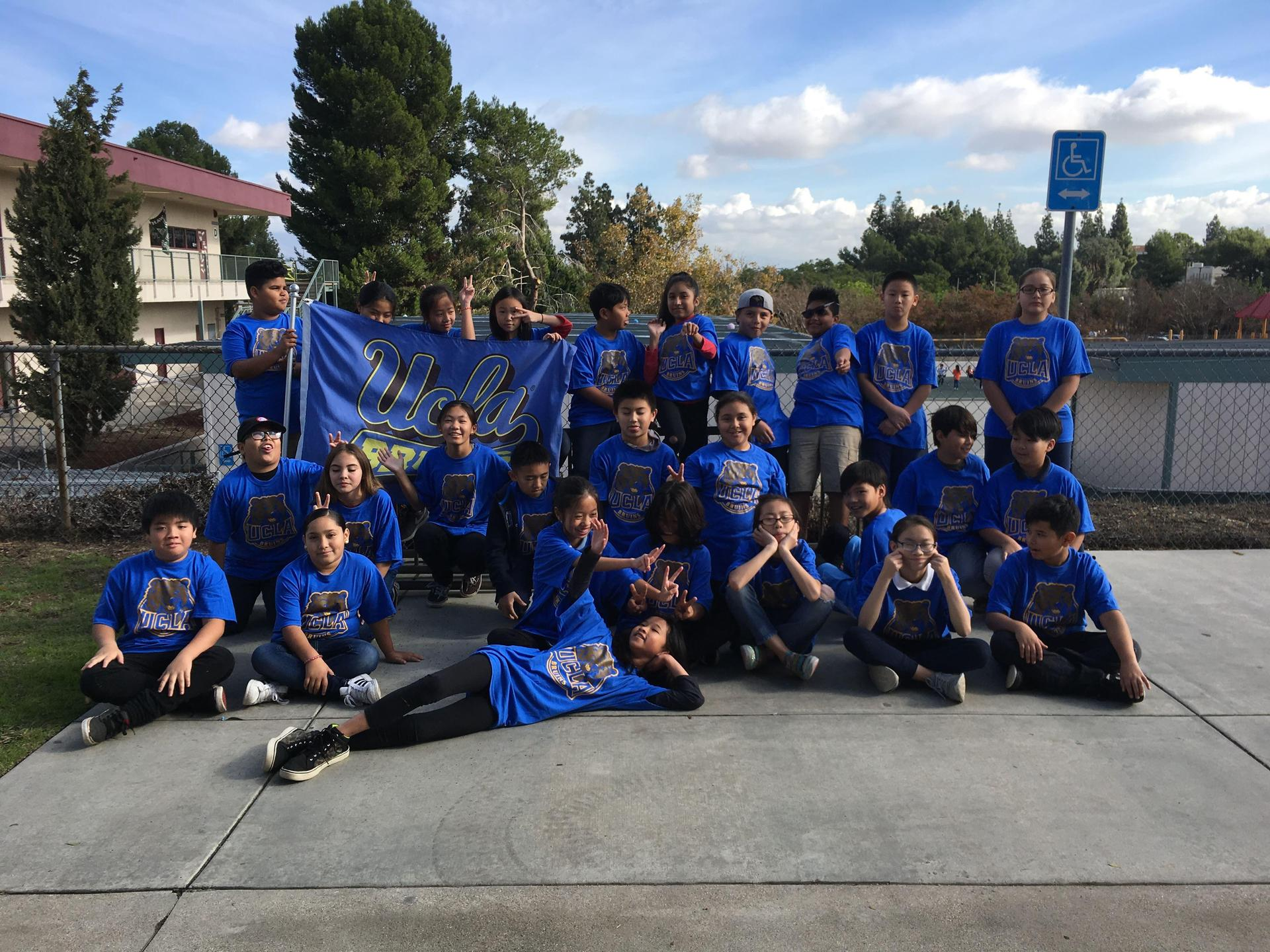 Room 1 Students in UCLA shirts
