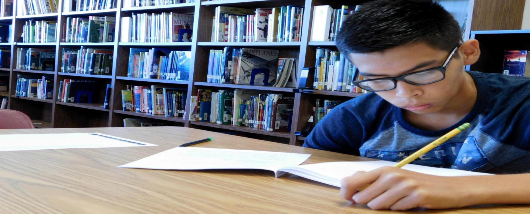 Student focusing on work