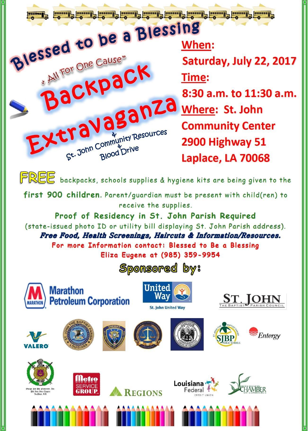 Backpack Extravaganza flyer