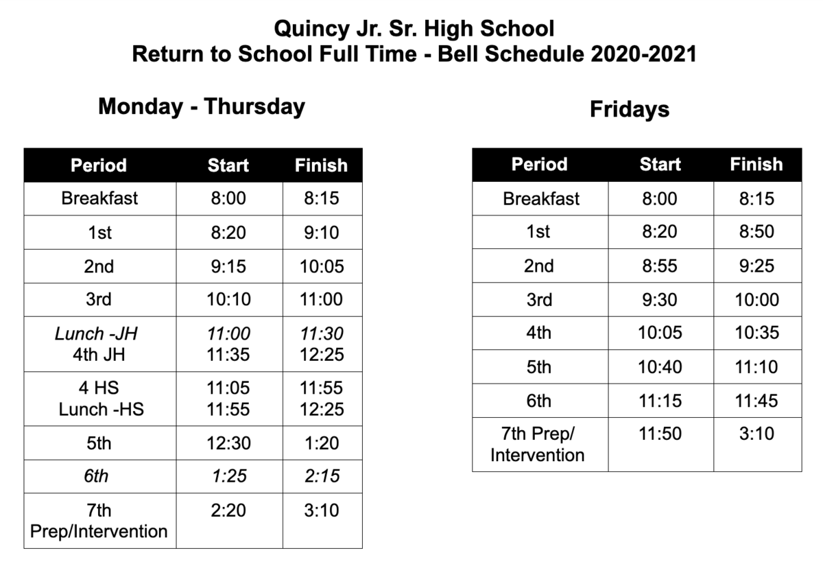 QHS bell schedule