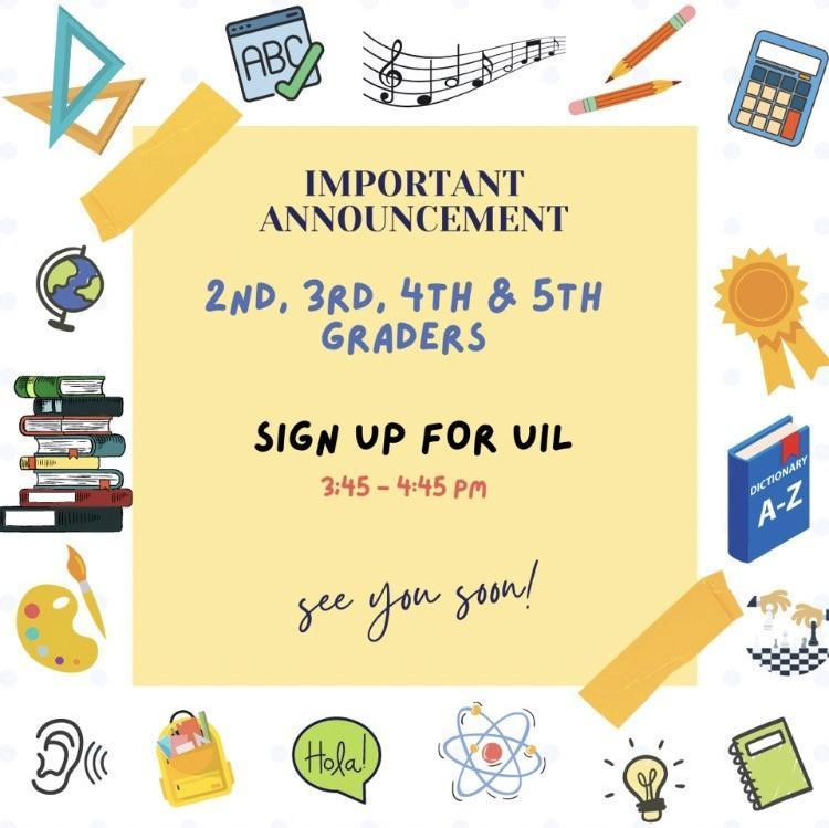 UIL flyer with academic symbols