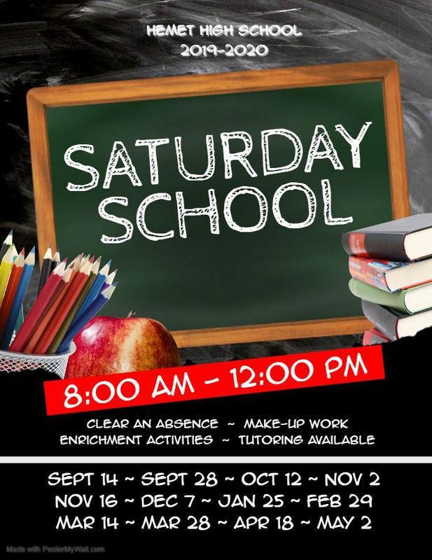 Saturday School schedule