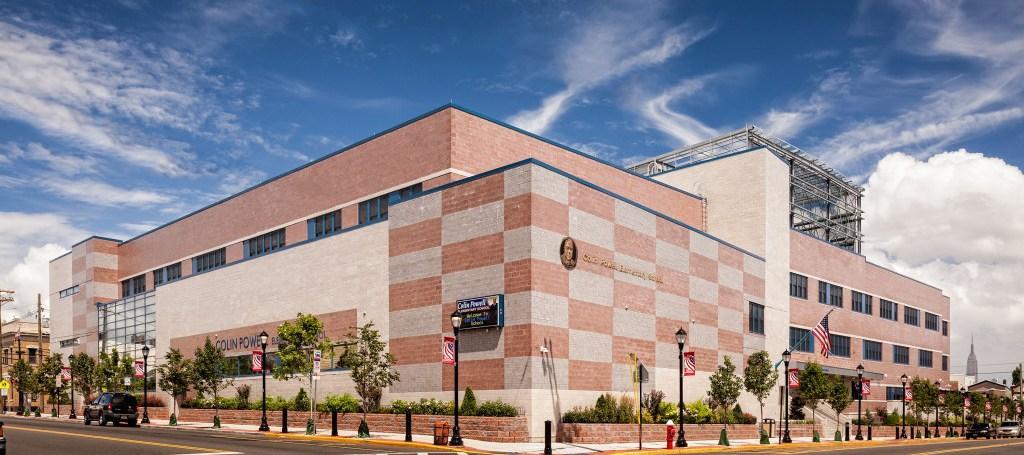 colin powell school building facade