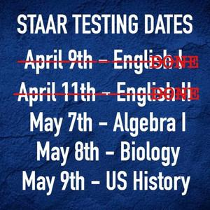 STAAR END OF COURSE TEST DATES
