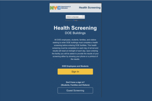 Screenshot of the NYC DOE Health Screening login page