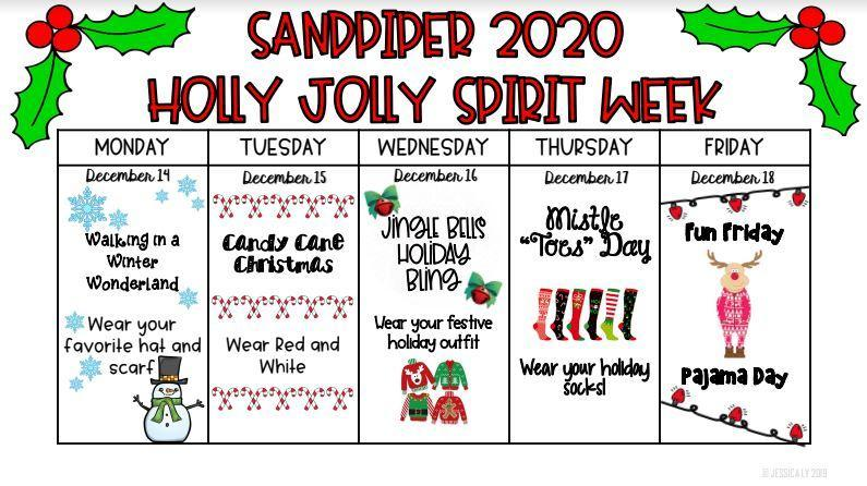 holly jolly spirit week monday through friday schedule