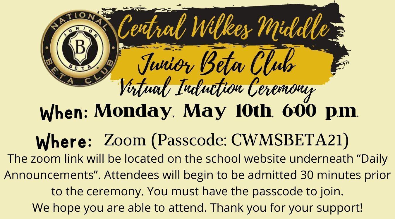 Junior Beta Club Virtual Induction Date