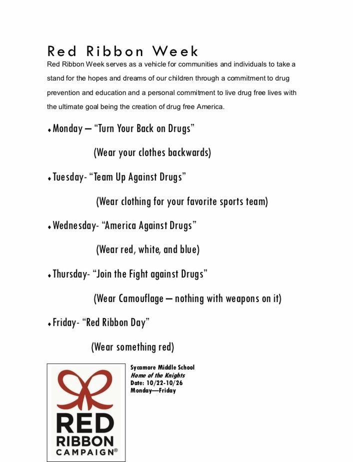 The dress up days are listed for Red Ribbon Week