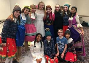 Mars Area students (back row, from left) Lauren Spindler, Tori Speranza, Carly Kern, Ellie Howell, Meghan McKenzie, Frances Huffman, Janie Hodder, Aria Ramanathan, (front row) Mira Ramanathan, Lacey Kern, Jace Scarito and Mei Lien Mansfield performed as members of the Jeter Backyard Theater team at the 2019 Junior Theater Festival.