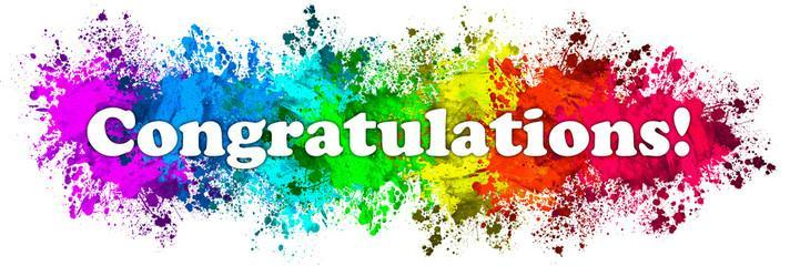 """The word """"congratulations"""" with a rainbow background"""