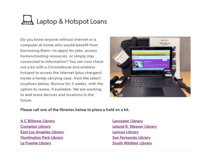 Laptop & Hotspot loans Featured Photo