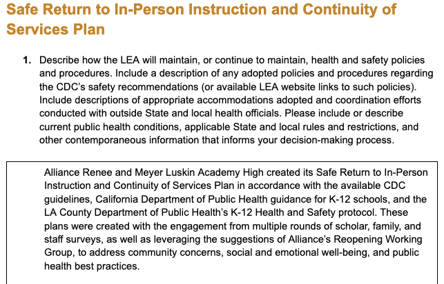 """""""Public Comment Form - Safe Return to In-Person Instruction and Continuity of Services Plan"""" Thumbnail Image"""