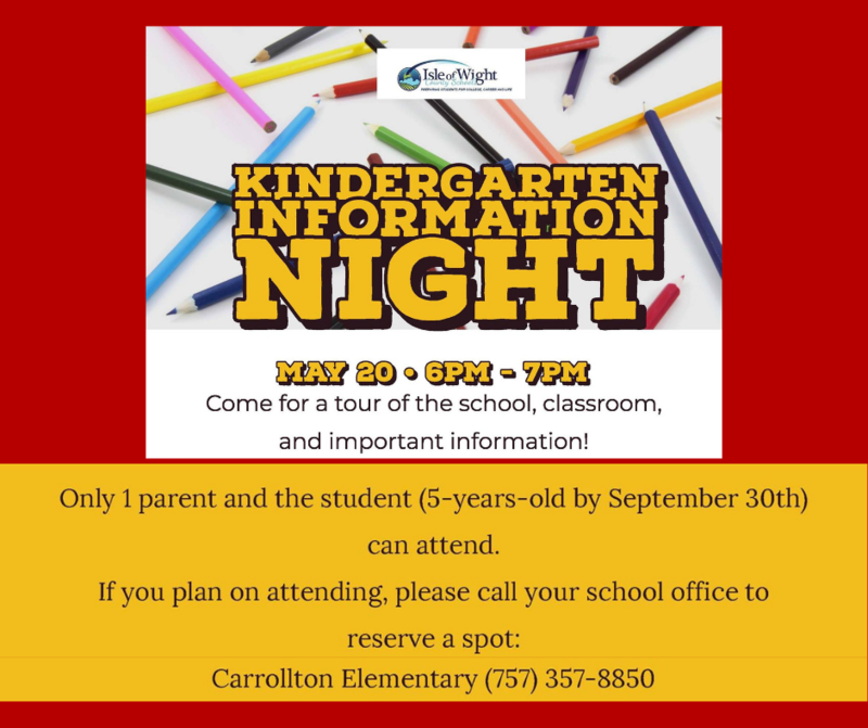 Parents/Guardians of Incoming Kindergarten Students:  Join us for an  In-Person Kindergarten Information Night on May 20.
