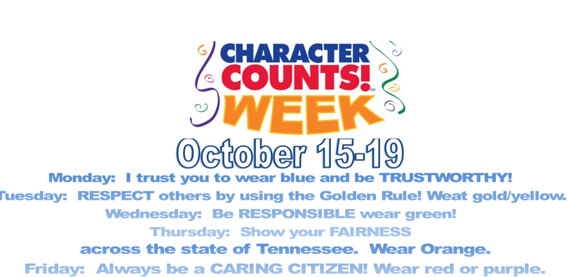 Character Counts Week Emblem with Ribbons