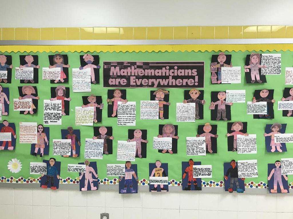 bulletin board display: Math is everywhere children portraits and how they use math in everyday life